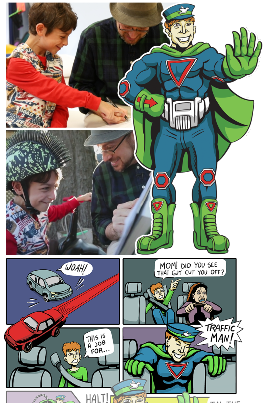 A young person helps Jason design Traffic Man, a superhero!