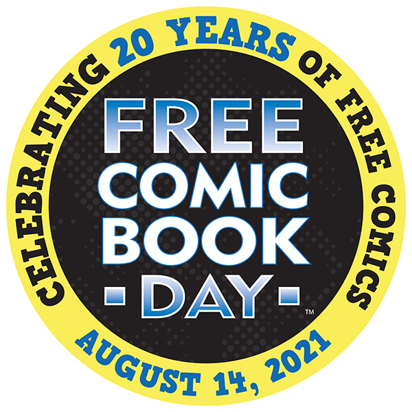 """Circular seal reads """"FREE COMIC BOOK DAY"""" in the center and """"CELEBRATING 20 YEARS OF FREE COMICS"""" plus """"AUGUST 14, 2021"""" around the outer edge."""